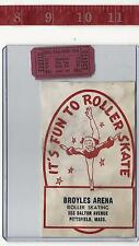 vintage lot roller rink decal Broyles Arena Pittsfield Ma & ticket FREE SHIPPING