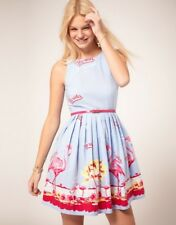 ASOS - Florida Flamingo Blue Dress - Size 8