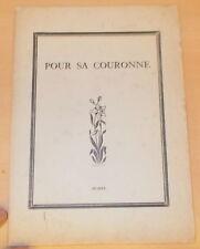POESIE STANISLAS MILLET POUR SA COURONNE LA MAISON DU LIVRE BRETON DINARD 1920