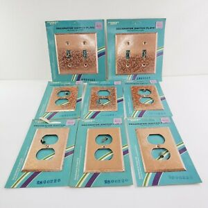 Forest City Decorator 2 Double Switch Plates 4 Outlet Covers Copper Mid Century