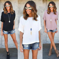 New Women Short Sleeve Chiffon Blouse Tops Ladies Summer Loose Pullover T Shirt