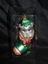 Precious Moments Kitten In Stocking Christmas Ornament Glass Pastel Pink Green