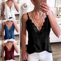 Women Lace Satin Camisole Plain Strappy Vest Top Sleeveless Blouse Casual Tank