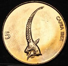 Slovenia 5 Tolarjev, 2000 Gem Unc~The Head and Horns of an IBEX~Free Shipping