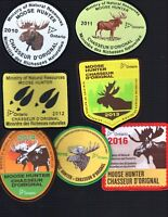 2010 thru 2016 Ontario MNR Successful Moose Hunter Patches Crest Badge Deer Bear