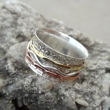 Solid 925 Sterling Silver Spinner,Meditation Ring Statement Ring  7 size 459
