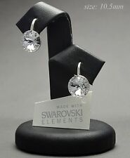 925 STERLING SILVER Earrings made with Swarovski Crystals 10.50mm RIVOLI CRYSTAL