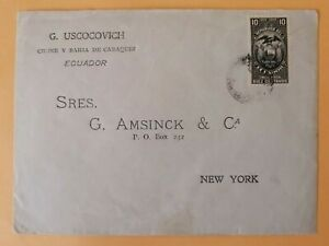 ECUADOR revenue cover postaly used Caraquez 1911 sent to NY York, fiscal tax