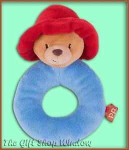NEW PADDINGTON BEAR PLUSH LOOP RING RATTLE - BABY GIFT SUPER SOFT TOY FROM BIRTH