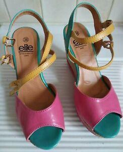 Sandales femme ELITE T38 multicolores à talons compensés