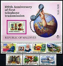 Space Raumfahrt 1975 Malediven Maldive Telefon Bell 651-657 + Block 38 MNH/954