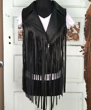 COWGIRL JUSTICE BLACK Leather Fringes WOMENS VEST L or XL $89 LIMITED TIME SALE!