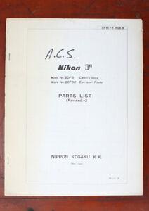 NIKON F PARTS LIST (REVISED)-2, 6/73/101371