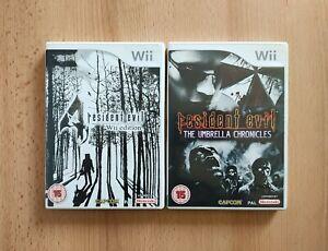 2 x Nintendo Wii Resident Evil Games Games Bundle - 4 & The Umbrella Chronicles