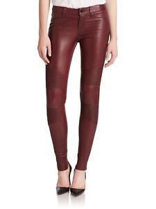 Women Burgundy Real Lamb Leather Biker Pants Skinny Trousers Slim fit Leggings