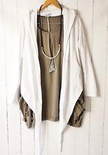 Moonshine Moda Shirt Cappuccio A Punta Scialle 48 50 52 Look Strati Bianco Nuovo