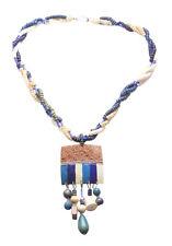 Dynamic & Corte De Coco Azul Negrita colgante collar de declaración & Trenzado. (Zx92)