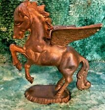 "Vintage Solid Brass Pegasus Greek Winged Flying Horse Sculpture 6 1/2"" tall"