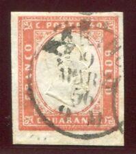 1856 ASI Sardegna 40 cent. vermiglio tenue usato spl bordo cert. FIecchi