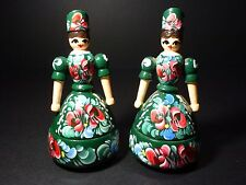 2 Wooden Folk Art Tole Painting Hungarian Dolls Jewelry Trinket Box