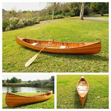 Real Canoe with Ribs 12 Ft Wood Paddles & Cover Included Curved Bow Cedar Hull