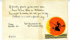 1930s Invitation to Halloween Party San Francisco Witch