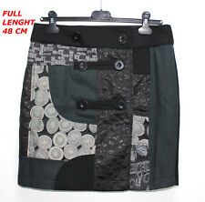 DESIGUAL  LADY SEXY WOMAN SKIRT BLACK/GRAY COLOR MODERN DESIGN MARKED SIZE 38