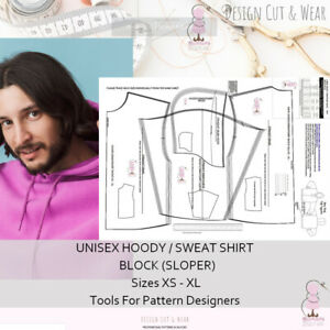 UNISEX HOODY / SWEATSHIRT  Block - Loose Relaxed Fit - Sizes XS to XL -Sloper -