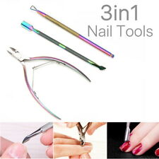 3 X Cuticle Remover Spoon Pusher Nipper Cutter Clipper Trimmer Nail Tools Set