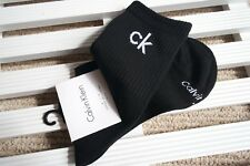 Black CALVIN KLEIN Cotton Short Crew Socks One Size Fits All Womens Femme Damen