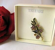 NEW Trifari Rhinestone Flowers  Pin Brooch CAT RESCUE