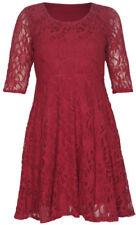 Vestiti da donna maniche a 3/4 rossi pizzo