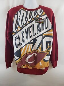 Unisex NBA Cleveland Cavaliers Graphic Sweatshirt Size XL Red Spell Out Raglan