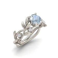 Men Women Elegant Leaves 925 Silver Ring 2.1Ct Aquamarine Wedding Size 6-10