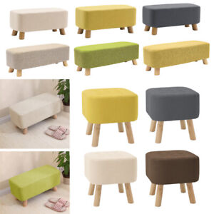 Linen Fabric Padded Stool Bench Footstool Pouffe Living Room Bedroom Footrest