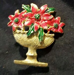 Enameled Christmas Pin Brooch Poinsettias in Planter Red Green Gold Unmarked