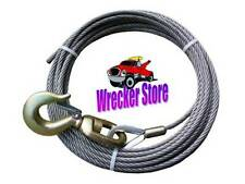 7/16 x 50' WINCH CABLE w/ SWIVEL HOOK - Fiber Core Wrecker for Tow Truck, Crane