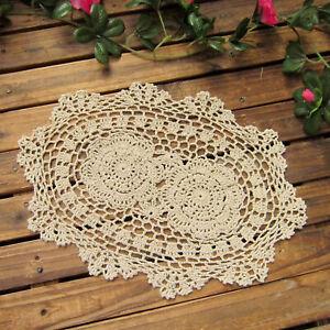 Crochet Cotton Lace Placemats Doilies Oval Shape, Beige, 10x14 Inch, Pack Of 4