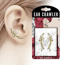Pair of Paved CZ and Pearl Feather 14K Gold Plated Ear Crawler Climber Earrings