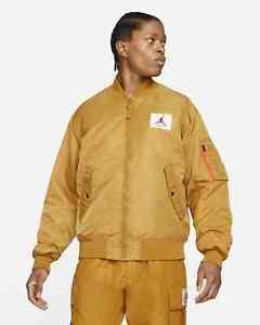 Jordan Flight MA-1 Reversible Bomber Jacket Men's Wheat Turf Orange Outwear Top