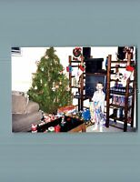 FOUND COLOR PHOTO J_0231 BOY IN PAJAMAS POSED HOLDING PRESENT BY CHRISTMAS TREE
