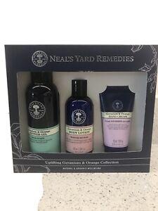 Brand New, Neal's Yard Remedies Geranium & Orange Uplifting CollectIon Gift Set