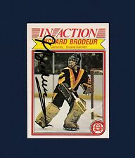 Richard Brodeur signed Vancouver Canucks 1982 Opee Chee In Action hockey card