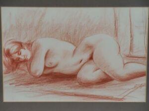 Original Aktzeichnung Nude Pastel Chalk O. ä. Luxuriant Lady Rubens Model 2/3