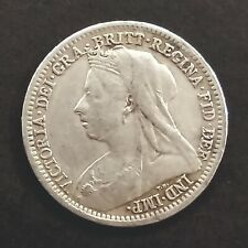 3 Three Pence Very Fine Silver Coin 1900 Uk Gb Great Britain Queen Victoria