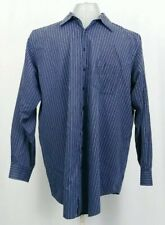 George Foreman Blue 18 1/2 37/38 Button Front Shirt Striped Long Sleeve Cotton