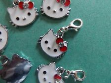HELLO KITTY Enamel charm clip on dangle lobster clasp for charm bracelets