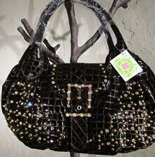 CHARM AND LUCK Patent Leather Handbag Embossed Rhinestones Purse Choc Brown NWT