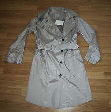 NEUF ORIG. Noir fair trade fashion trench Jacket Manteau Manteau silver taille 40
