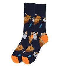 1 New Funky Women Black Pair Cat Fish Socks Novelty Crew Sock Size 9-1